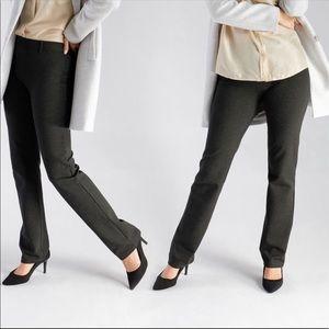Betabrand Straight Leg Classic Yoga Pants Charcoal Gray Dress Pant M